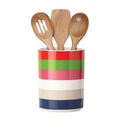 Kate Spade New York® Rainey Stripe Crock & Utensil Set #katespade #cookstools #giftsforgrads