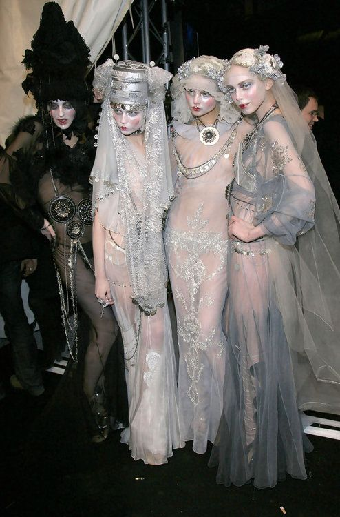 Georgina ,Natasha, Magdalena, and Tanya at John Galliano Backstage.