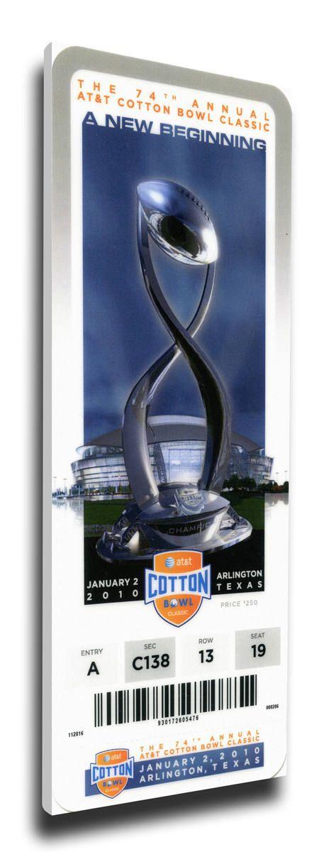 2010 Cotton Bowl Canvas Mega Ticket - Ole Miss Rebels