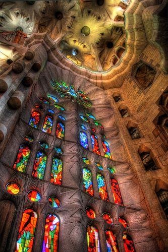 """La Sagrada Familia. Antoni Gaudi. Barcelona, Spain. Gaudi started work on the project in 1883. Building still under construction. (Est. completion 2026)."""