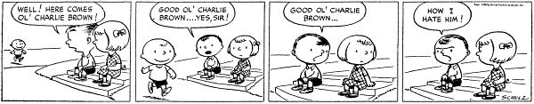 The first strip from October 2, 1950. From left-to-right: Charlie Brown, Shermy, (original) Patty.