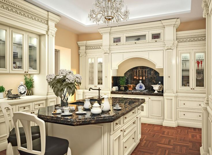 Classic Kitchen Design With Fancy Crystal Chandelier Above Kitche Island  Black Marble The Top As Well