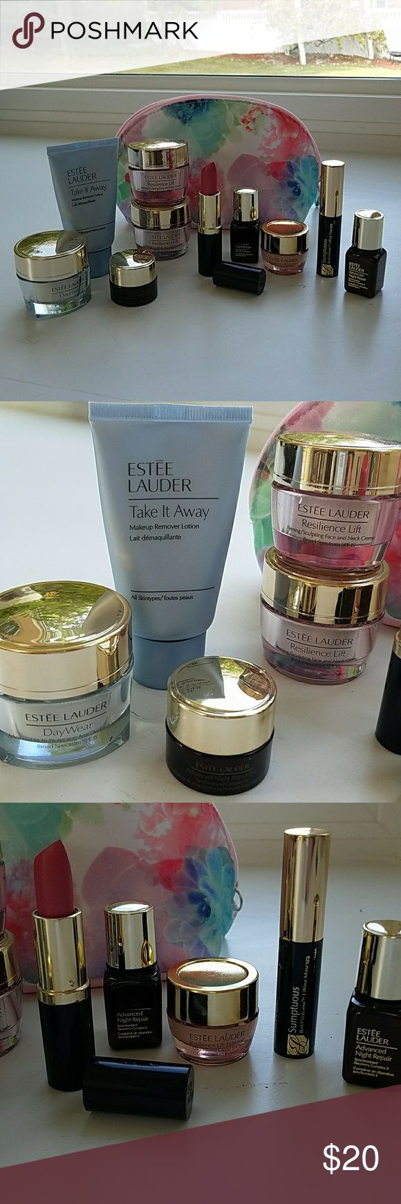 Estee Lauder face products with lipstick Estee Lauder Day wear, makeup remover lotion, Advanced night repair eyes, 2 Resilience Lift firming face and neck cremes, 2 Advanced night Repair for face, Resilience lift Extreme, Pure color candy shimmer lipstick, and Sumptuous lifting mascara. All new and never used. Estee Lauder Other