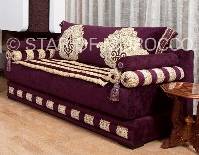 Royal purple gold moroccan sofa moroccan design - Moroccan living room furniture for sale ...