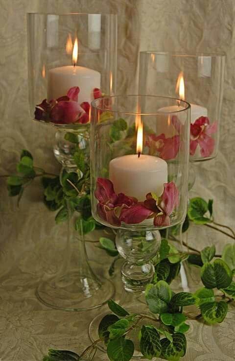 3 Glass Pillar Candle Holders