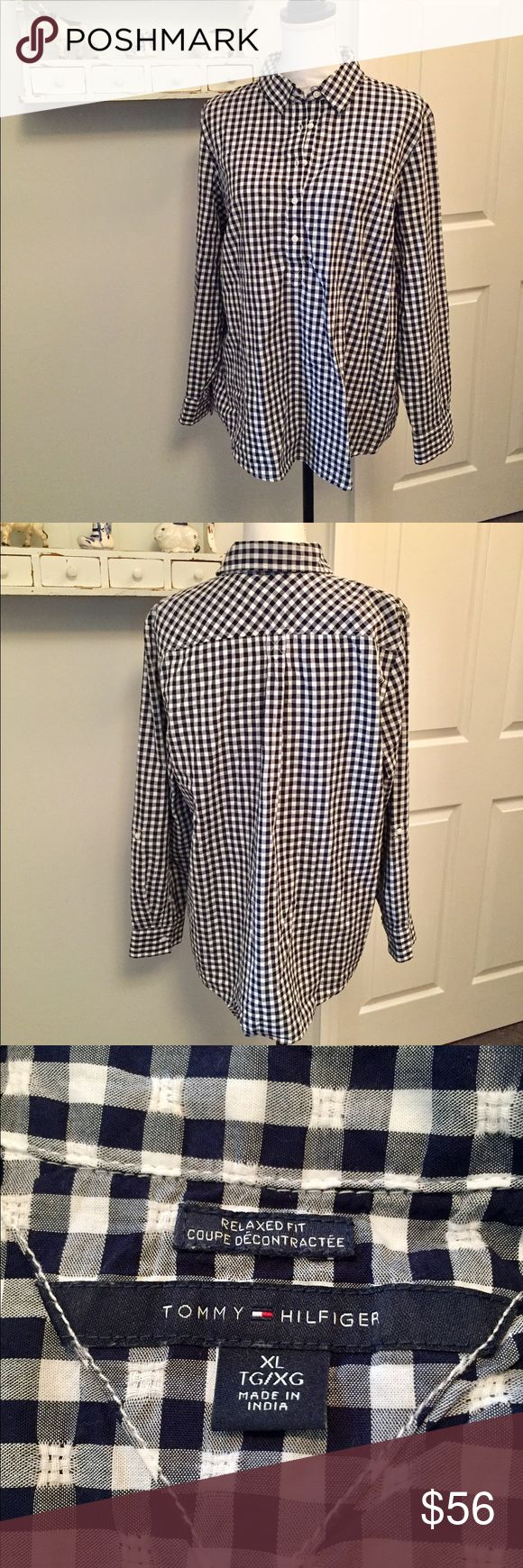 Tommy Hilfiger Checker Shirt 🌷 Great shirt with jeans or leggings! I'm colorblind w/certain colors but I think this is navy blue and not black. Worn twice. Tommy Hilfiger Tops