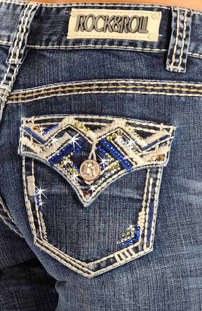 Rock N Roll Cowgirl Women's Mid Rise Boot Cut Jeans W1-1540