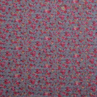Šifon šedý s drobnými kytičkami | Šifon vzorovaný | Důmlátek.cz - látky a metráž