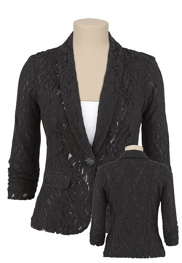 Loving this lace blazer! Put a new look on an every day blazer. Only $49.00