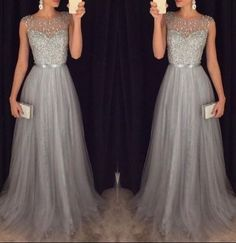 Modest prom dress long, unique beading grey prom dress for teens, plus size prom gown, plus size long evening dress 2016