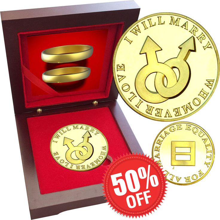 Same Sex Marriage Gay Male 1 oz Gold layered Proof Silver Coin Rosewood box Love