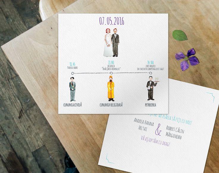 Andrea and Robert's wedding invitation. Illustration, bride, groom, mayor, priest, waiter, champagne, drawing, watercolor, timeline, handwritten font