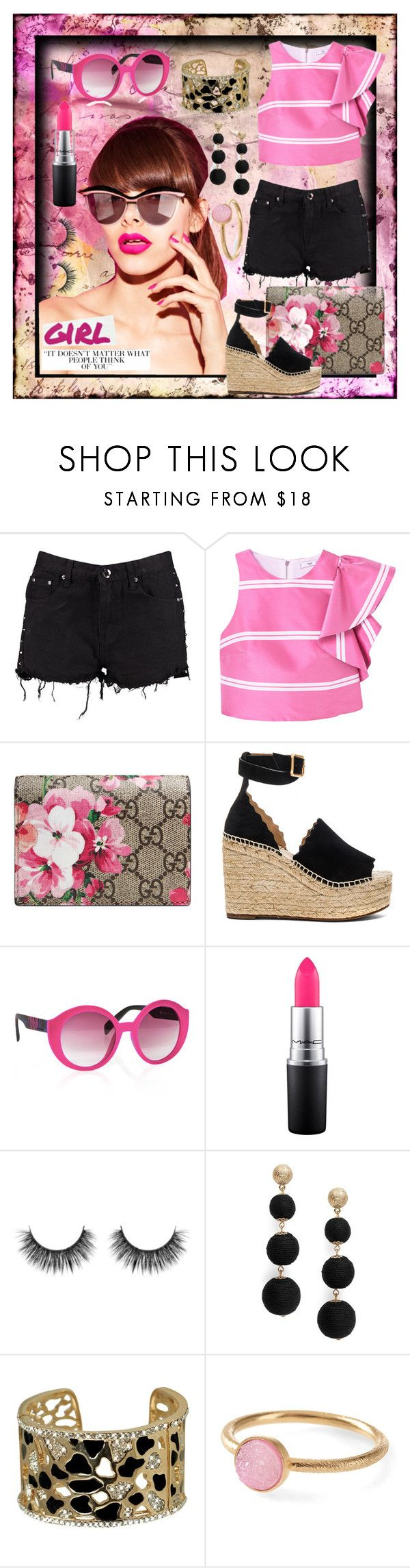 """""""Untitled #149"""" by spudart ❤ liked on Polyvore featuring Boohoo, MANGO, Gucci, Chloé, Italia Independent, MAC Cosmetics, R.J. Graziano, Pernille Corydon and Gwyneth Shoes"""