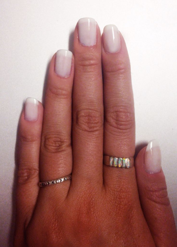 American French manicure essie marshmallow tips essie waltz middle layer essie allure top coat natural nails short nails white nails opal ring handcrafted rings