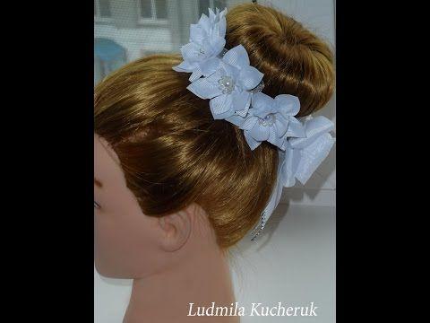 DIY Резинка на гульку-пучок из цветов Канзаши/The elastic on the bun from flowers / Flor / Moño - YouTube