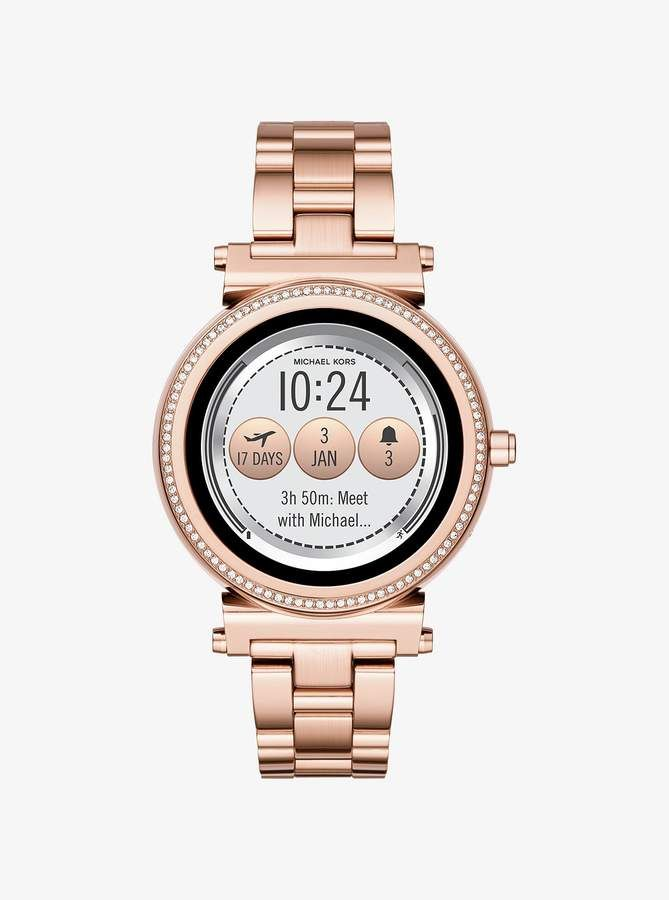 Michael Kors Sofie Pave Rose Gold Tone Smartwatch | Schuhe