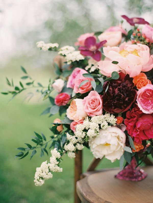 Crimson and Burgundy Wedding Flowers | Blush Wedding Gown by @Watters available at anna be denver | flowers by @Violet Floral Design | styled by @vintagerentco photography by http://www.sarahasstedt.com/