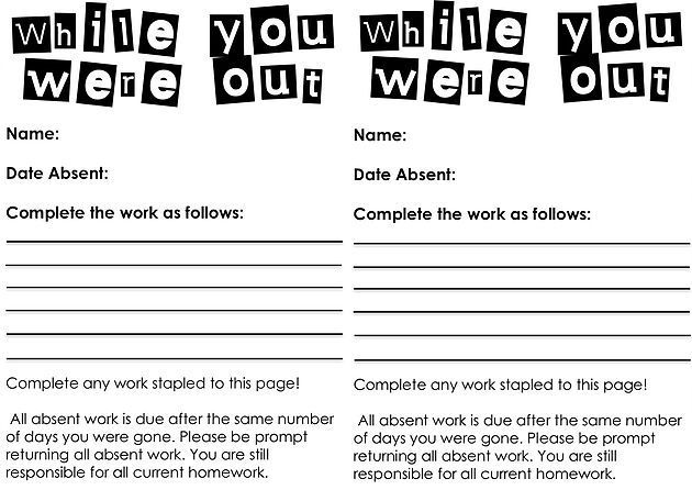 """These mini-sheets are designed for the partner of the absent student to fill in. There are some brief instructions about when the work is due, but mostly the kid sat next to them fills it out. Win-win; because as Frank Oppenheimer said, """"The best way to learn is to teach,"""" and it saves you scrambling to catch up with your plaguey-child!"""