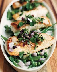Halibut with Mixed Beans and Lemon-Butter Sauce