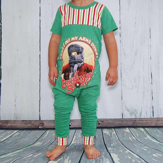 """The classic, a Christmas story!! One of the best scenes in the movie (arguably) is where this t shirts quote comes from. """"I can't put my arms down!"""" This adorably funny romper is hand made from a men's t shirt and coordinating stretch knit fabric. The coordinating fabric will very in"""