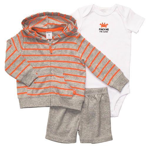 Carter s Boys 3 Piece Striped Hooded Cardigan Bodysuit