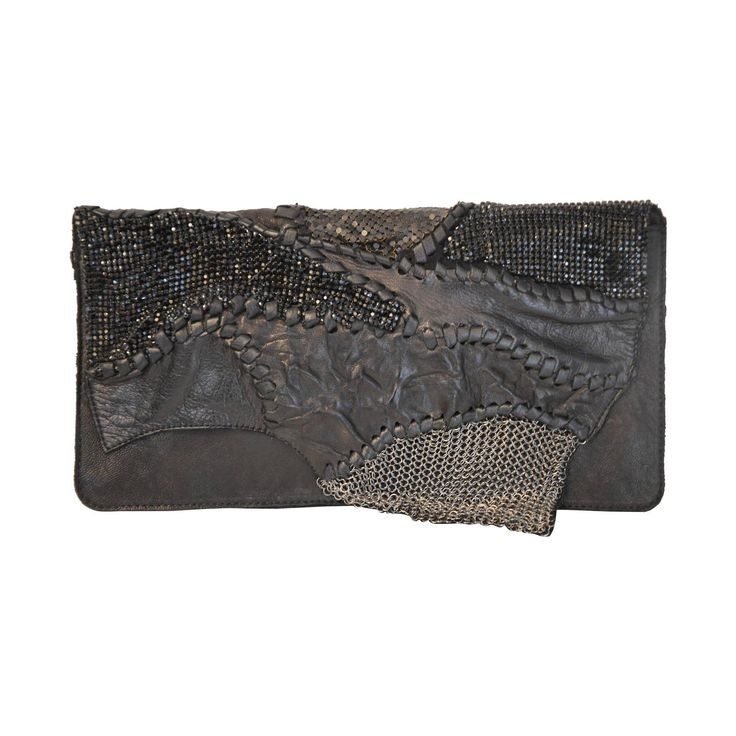 Balmain by Christophe Decarnin Soft Leather and Mesh Patchwork Clutch | From a collection of rare vintage clutches at https://www.1stdibs.com/fashion/handbags-purses-bags/clutches/
