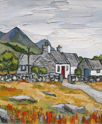 Near Trevor by David Barnes, oil, 12 x 10 inches | Red Rag Gallery