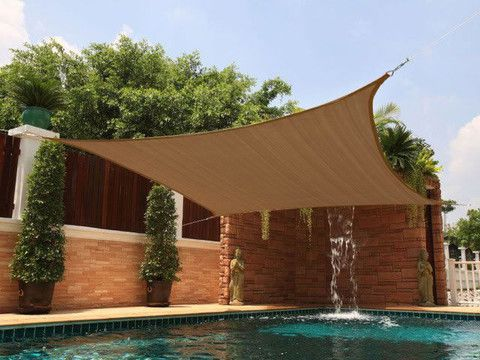 New Premium Clevr Sun Shade Canopy Sail 18' Square UV Outdoor Top Patio Brown