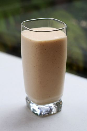 Breakfast In A Cup::       2 frozen bananas      1/2 cup rolled oat flakes      1 cup milk (use more or less to adjust to desired consistency)      1/2 cup coconut peanut butter or peanut butter      1-2 tablespoons coconut oil, melted      dash cinnamon      1 teaspoon vanilla      1 cup spinach (optional)