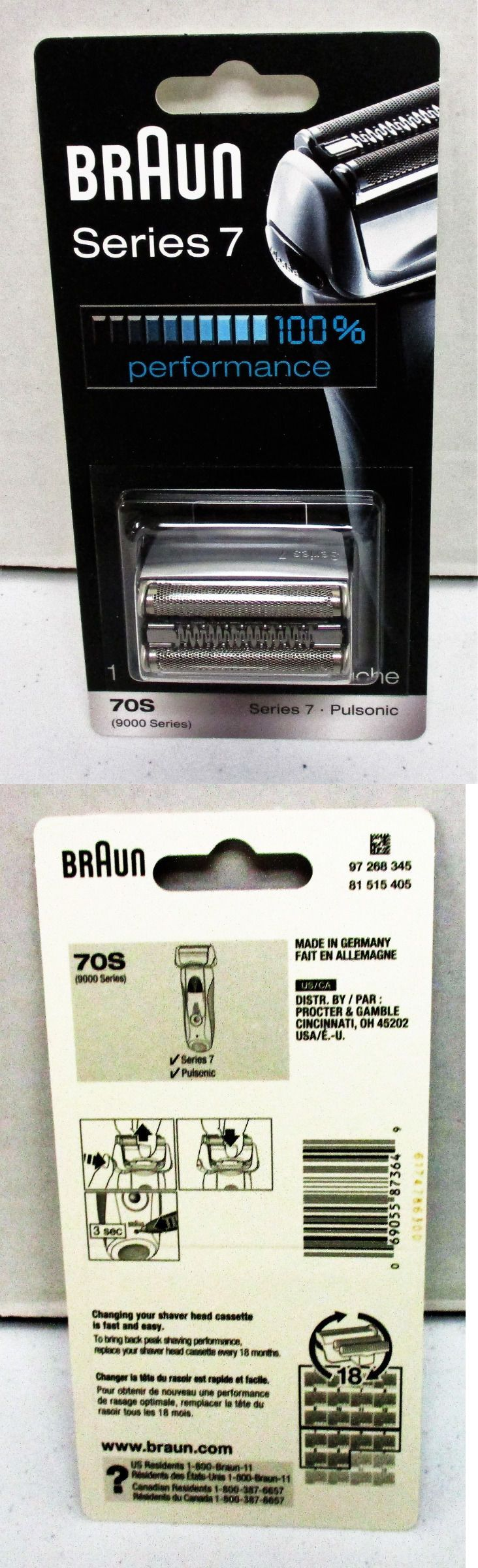 Shaver Parts and Accessories: Braun 70S Series 7 Pulsonic - 9000 Series Shaver Cassette - Replacement Pack BUY IT NOW ONLY: $79.97