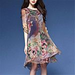 Women's Plus Size Going out Vintage Sophisticated A Line Chiffon Dress,Print Sweetheart Midi Short Sleeve Polyester Summer Mid Rise 2017 - $22.99