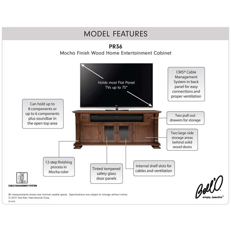 See additional information on the Bello Elegant Solid Wood TV Cabinet for 75 inch TVs (Mocha) PR36 below.