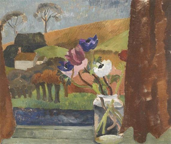 Anemones in Window, Broadchalke, Wiltshire (1928) by Christopher Wood