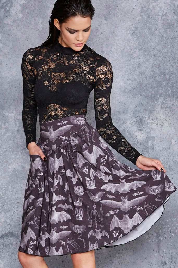 Gone Batty Yoke Midi Skirt - LIMITED ($99AUD) by BlackMilk Clothing
