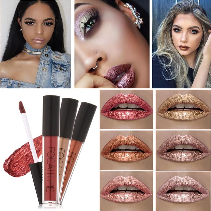 Brand FOCALLURE Lipstick Matte Red Lips Makeup Lip Gloss Tint Waterproof Gold Shimmer Metallic Nude Matt Liquid Lipstick Pencil