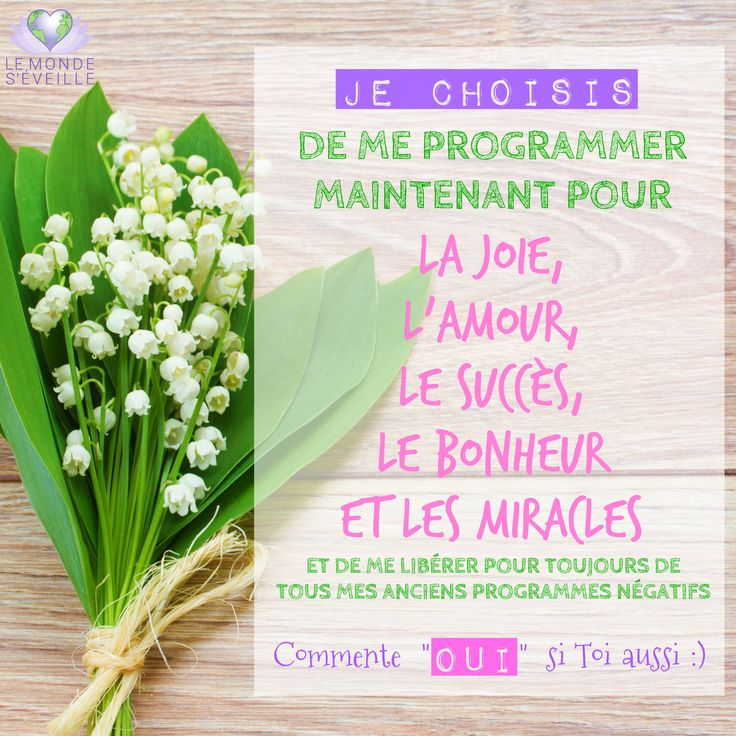 <3 OUI <3 I choose to programm myself now for Joy, Love, Succes, Happiness and Miracles and to release forever all my old negative programs. Say YES if you too. www.lemondeseveille.com