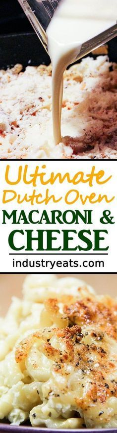 The Ultimate Dutch Oven Macaroni & Cheese Recipe - This is the mac & cheese recipe to bookmark forever. No more messing around with average recipes. This one is a winner. To prepare it, you'll need a huge dutch oven. After that, tons of cheese and the ability to combine some ingredients. When it's all said and done, you'll be a legend in the town you live in. This dish is full of cheese and even more full of flavor. Includes cheddar, mozzarella, monterey jack, parmesan and romano cheeses.