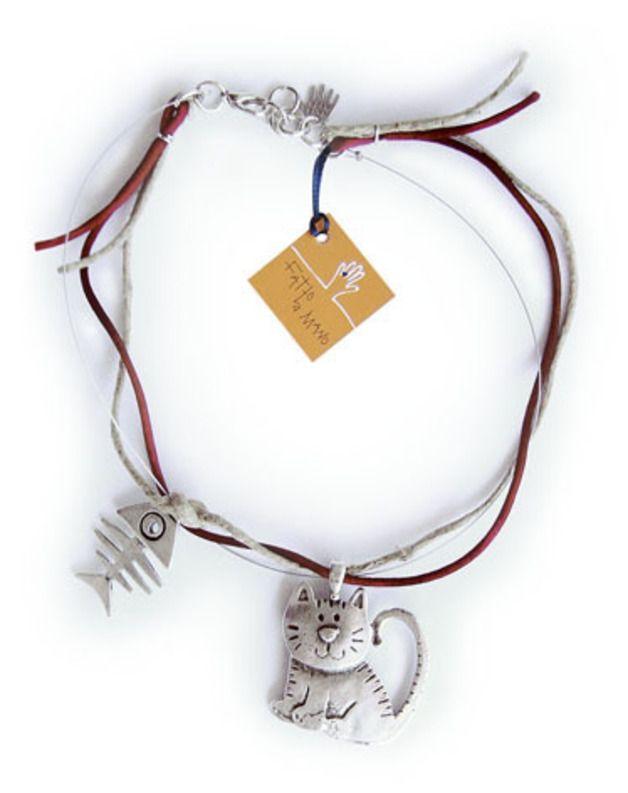via en.dawanda.com Short Necklaces – hallo pussy cat! – a unique product by fattoamano on DaWanda