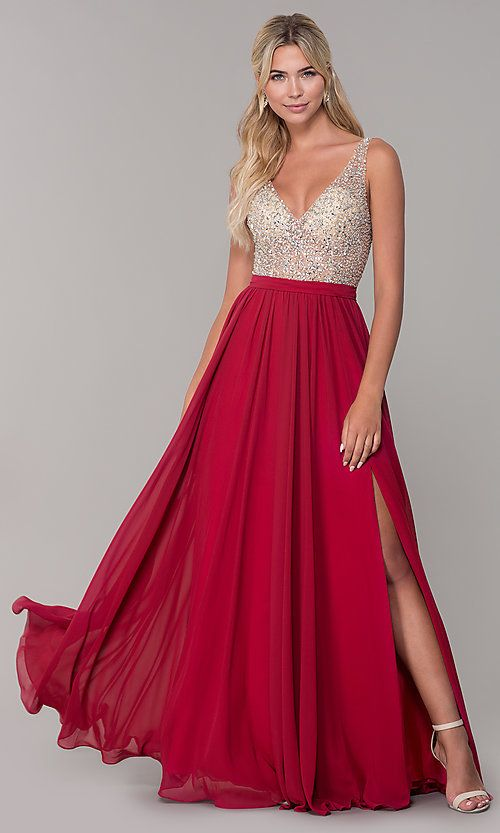 81908764c0 Image of beaded-bodice long chiffon formal dress for prom. Style  DQ-2569  Detail Image 4
