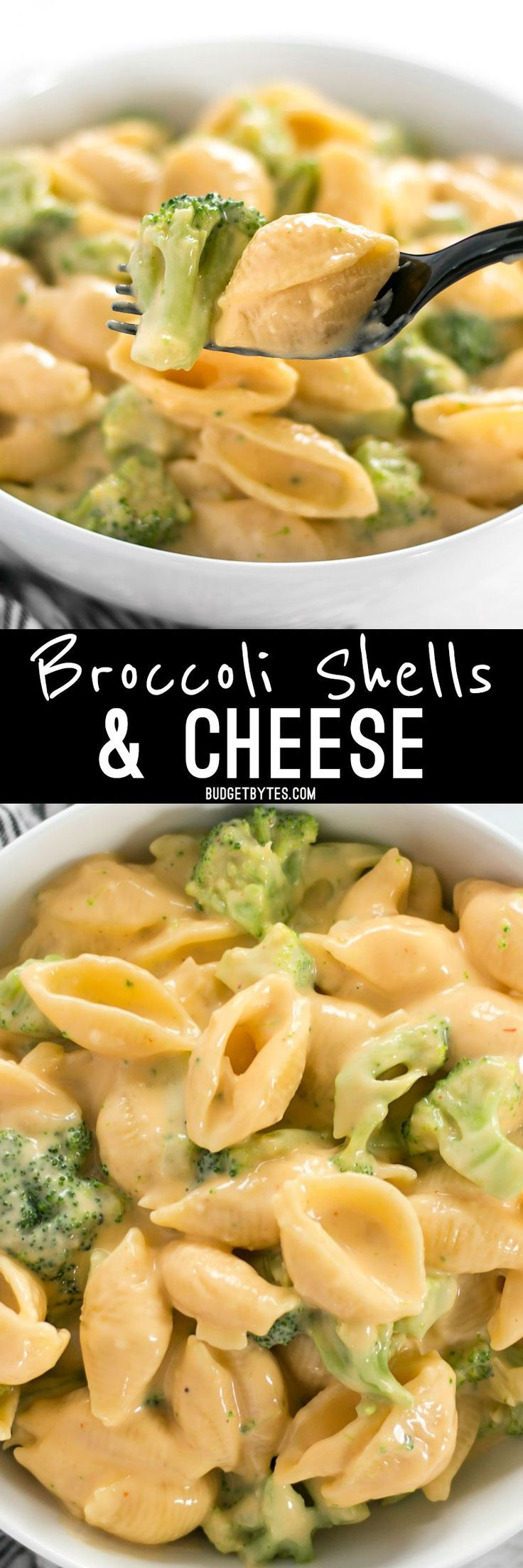 Broccoli shells n' cheese is a classic American dish that goes well alongside any meal, or as a hearty side dish. 100% real, 100% homemade. @Budget Bytes | Delicious Recipes for Small Budgets