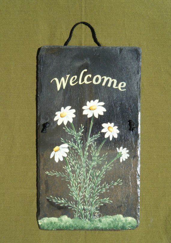 Hand painted Slate Welcome Sign by LisaWinkelbauerBane on Etsy, $35.00