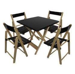 Jogo Mesa 70 por 70 4 Cadeiras Natural Luxo Preto Dobráveis Madeira