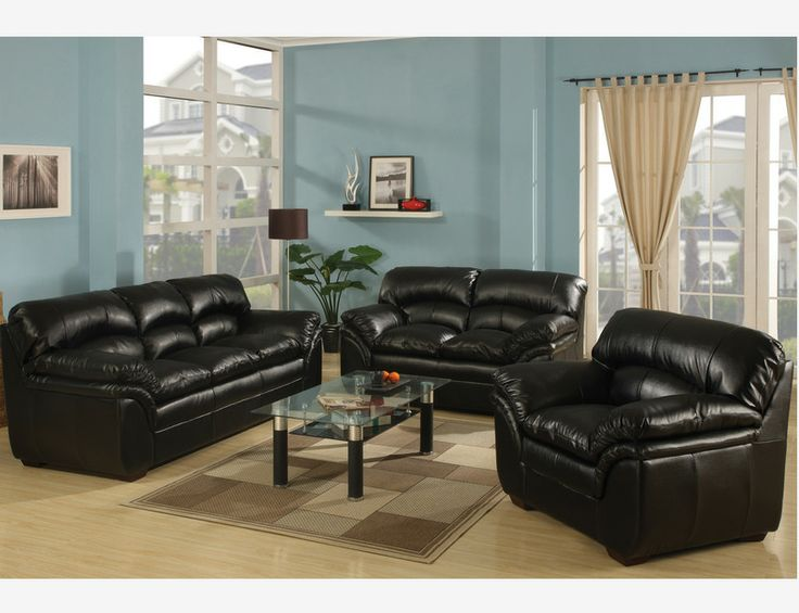 Joyce Black Leather Sofa Couch Loveseat Chair Tufted Living Room Set