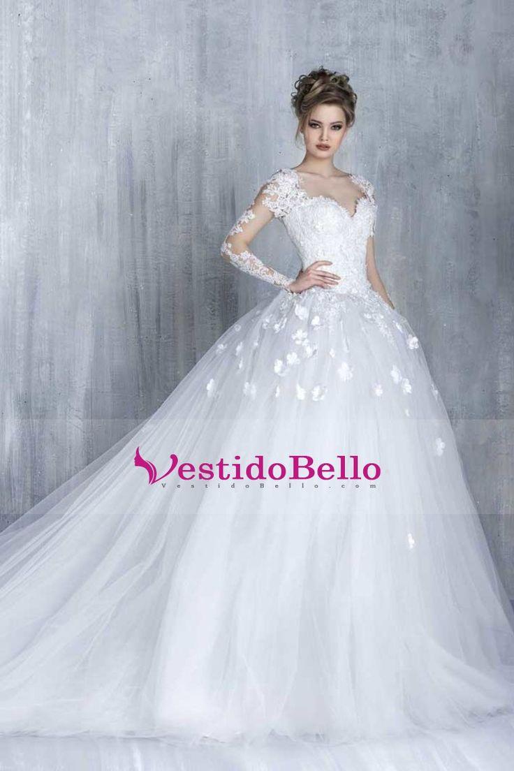 2016 vestidos de boda del vestido de bola de manga larga de tul con flores hechas a mano la capilla de tren