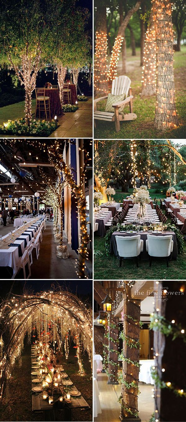 Wedding reception decoration ideas with lights   best Bodas al aire libre images on Pinterest  Weddings Wedding