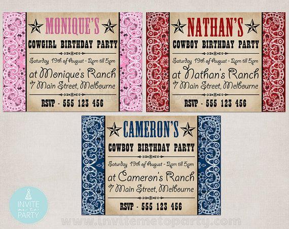Cowboy Invitation / Cowgirl Invitation / Bandana Invitation
