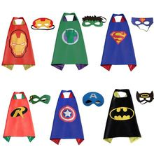 1 capa + 1 máscara cosplay juegos para niños. figuras de acción avengers capitán americano. hulk, iron man, super man, thor juguetes para el partido(China (Mainland))