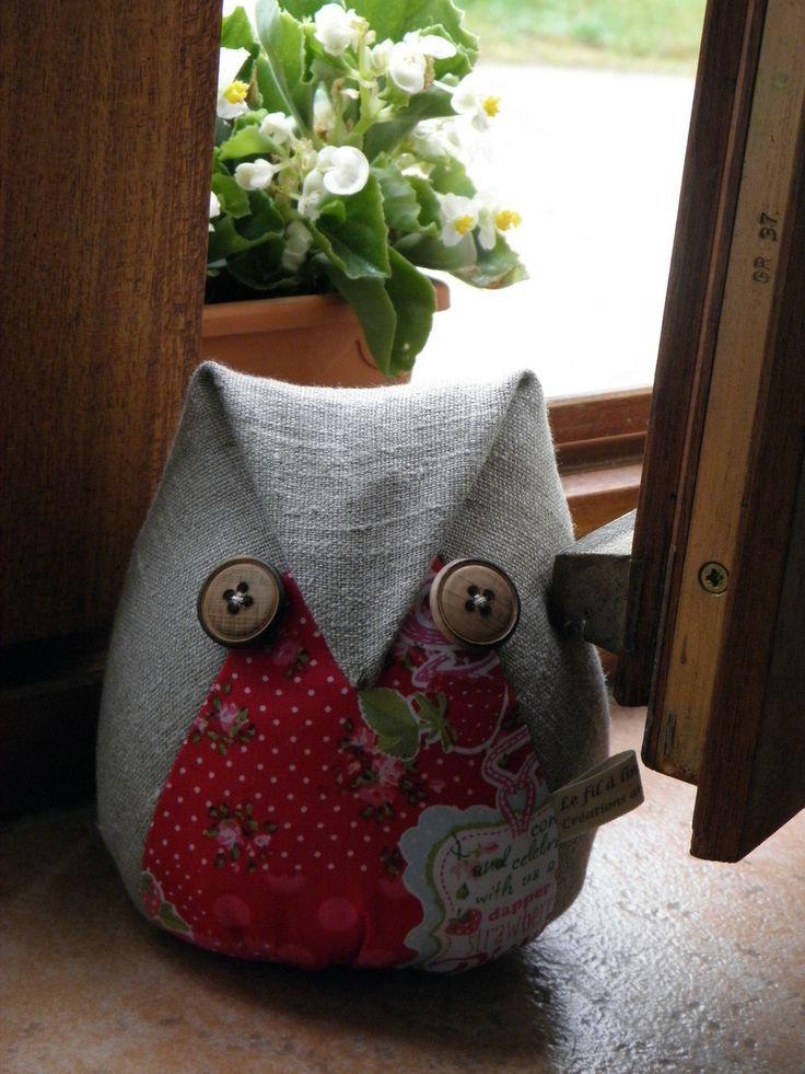 """Cale-fenêtre """"Chouette"""" en lin naturel et coton Strawberry réf.489 : Accessoires de maison par lefilalinge"""