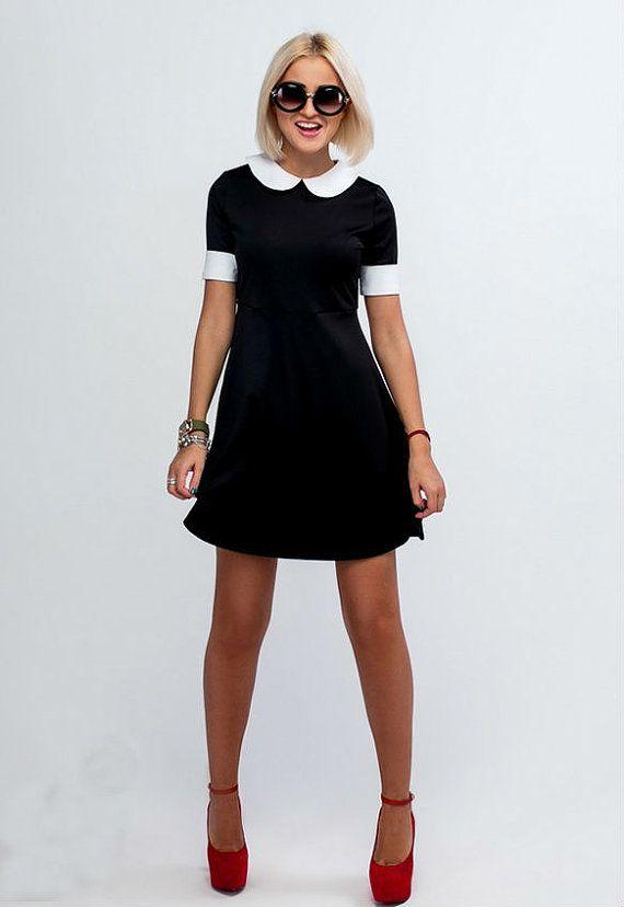 Little Black Dress LBD Short Sleeve Dress Black by PlayFashion