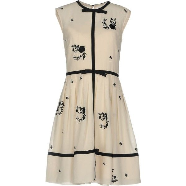 Ted Baker Short Dress (2,855 EGP) ❤ liked on Polyvore featuring dresses, ivory, ted baker dresses, flare dresses, pink dress, ivory dress and short ivory dress